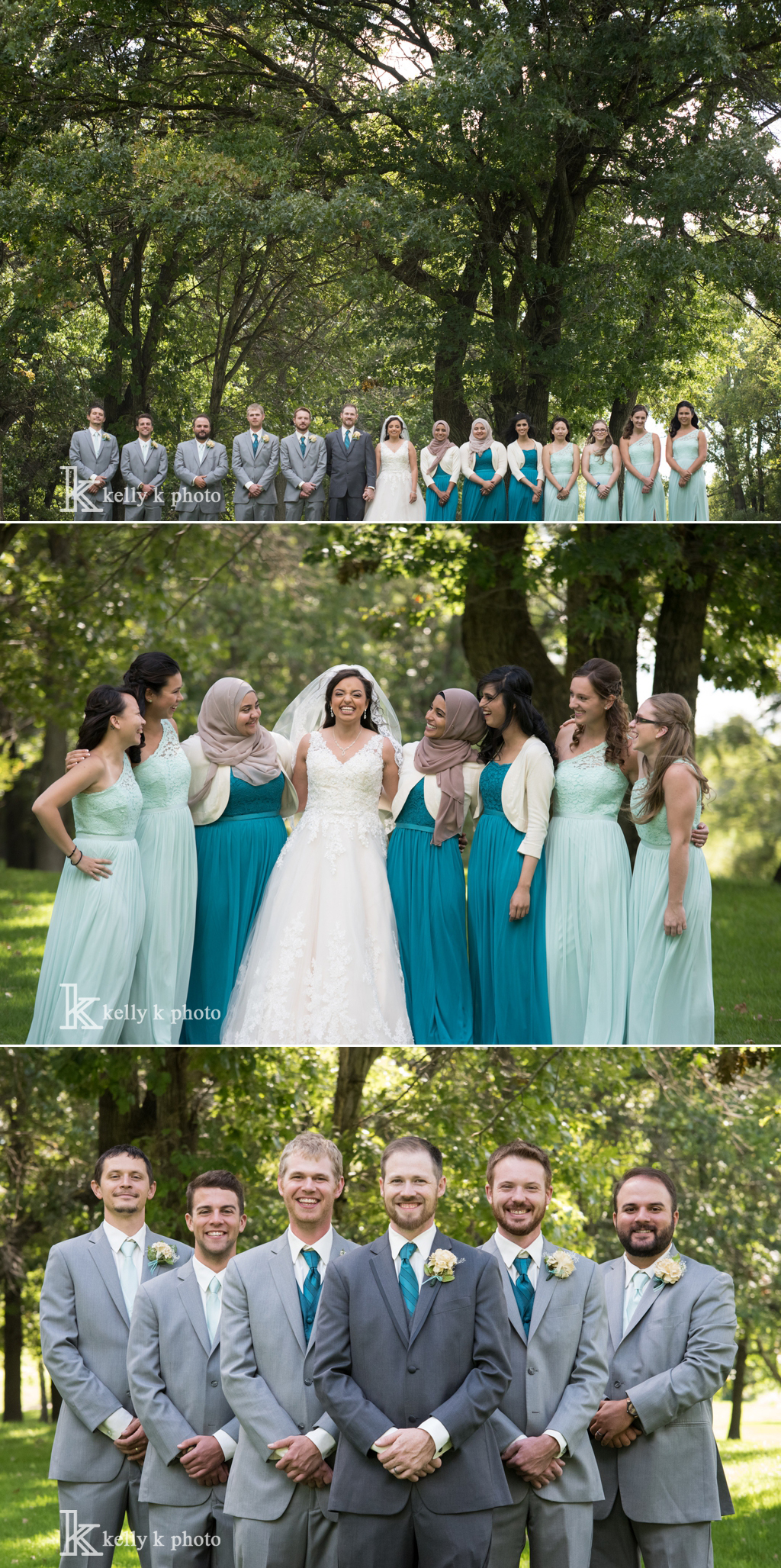 Teal And Grey Wedding Party